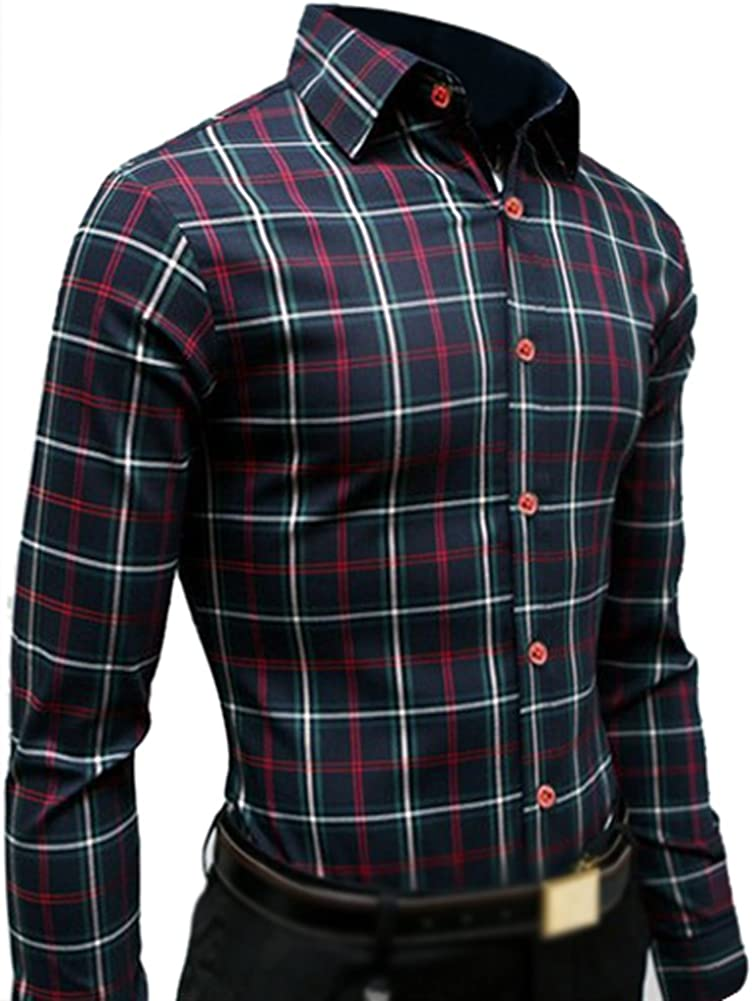 TOOGOO (R) nuevo hombres de manga larga Slim Fit camisa ...
