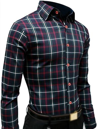 TOOGOO (R) nuevo hombres de manga larga Slim Fit camisa Casual camisas hombre vestido de algodón camisas esmoquin camisas 2 X L 15: Amazon.es: Ropa y accesorios