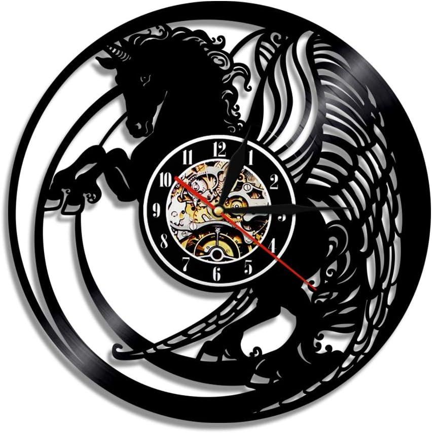 LKJHGU Naturaleza Negro Caballo Corriendo Arte de la Pared Reloj Mustang Disco de Vinilo Vintage Reloj de Pared de Vinilo decoración del hogar diseño Moderno