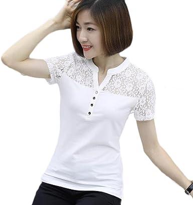 ZXCB Camiseta De Encaje con Encaje para Mujer Camiseta De Cuello Alto con Ajuste En Algodón con Cuello En V, White-XXL: Amazon.es: Ropa y accesorios