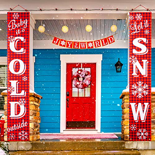 2 Pieces Christmas Porch Sign Baby It's Cold Outside/Let It Snow Banner Christmas Banner Decoration Outdoor Indoor Red Xmas Decor Banner Christmas Door Banner Welcome Christmas Outdoor Sign