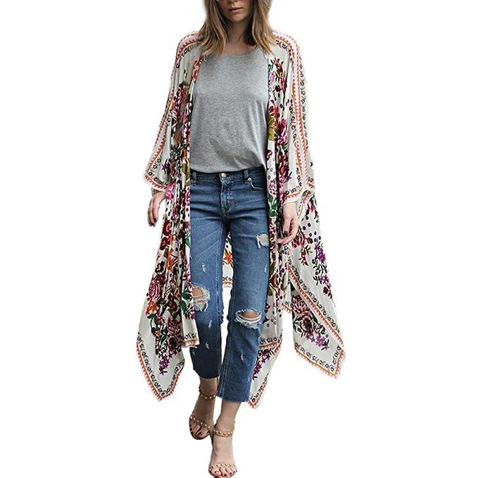 5f4ce82f865a88 Homebaby® Copricostume Mare Cardigan Donna Chiffon Stampa - Casual Estivo  Scialle Elegante - Costume da