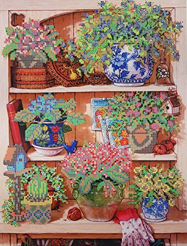 Bead Embroidery kit Garden Shelf Needlepoint Blooming Flowers Beadwork Pattern Kitchen Wall Decor DIY Gift idea Partial Embroidery Handcraft