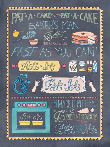 Oopsy Daisy Canvas Wall Art Pat a Cake by Becca Cahan, 30 by 40-Inch