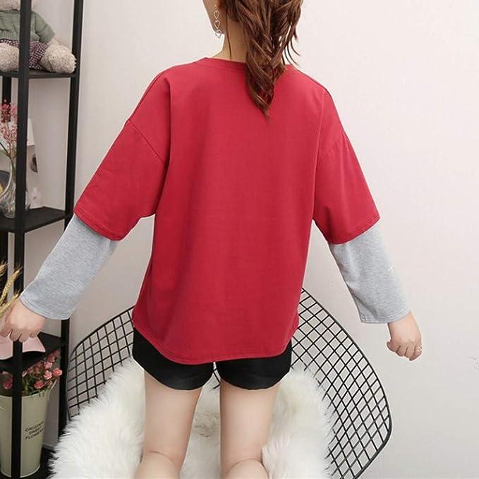 OPAKY Moda Mujer de Manga Larga con Lentejuelas Fluffy Sudadera con Cuello en O Top Blusa con Cuello Redondo y Manga Larga Falsa de Dos Piezas para Mujer de Moda