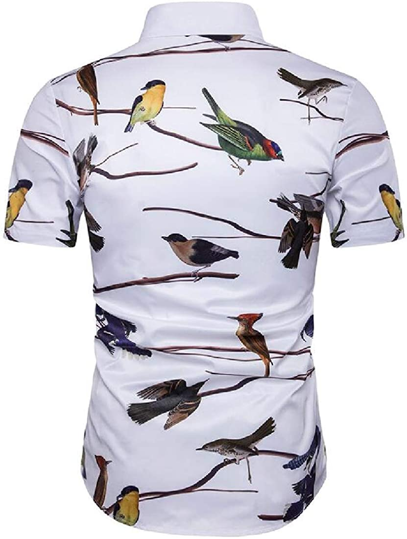 WSPLYSPJY Mens Business Short Sleeve Luxury Print Button Dress Shirt Top