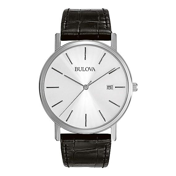 a8331f49b73d Bulova Classic 96B104 - Reloj de pulsera de diseño elegante para hombre -  Correa de cuero - Acero inoxidable - Negro  Amazon.es  Relojes