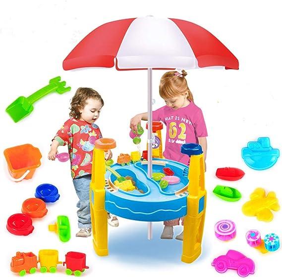 Juego De Mesa De Agua Y Arena para Niños - Incluye 16 Espacio para Juguetes Playa para Agua De Arena - Juegos Al Aire Libre para Interiores Mesa De Agua De Juguete