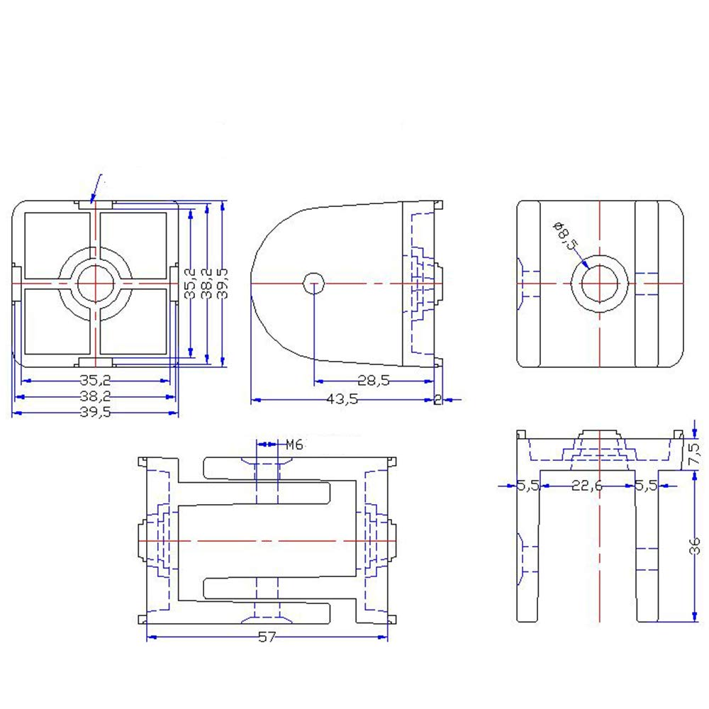 Boeray 2pcs 2020 Series Aluminum Extrusion Profile Die-Cast Zinc Alloy Pivot Joint Flexible Pivot Joint for 2020 Aluminum Profile