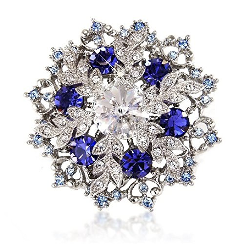 Blue Snowflake Brooch - Midnight Sapphire-Blue Color Crystal Pin and Pendant 5cm x 5cm - Gift for Her