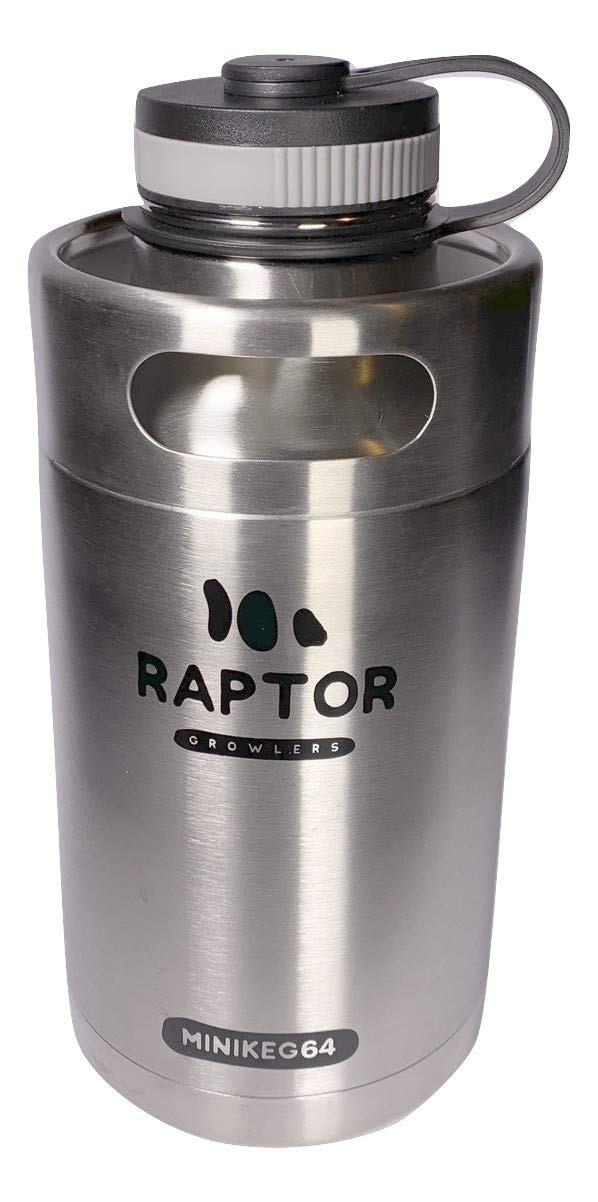 Raptor Growlers MiniKeg 64 Vacuum Insulated Stainless Steel Growler with Double Wall (Stainless Steel)