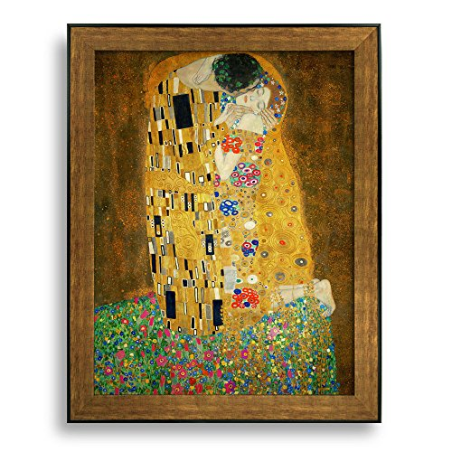 The Kiss by Gustav Klimt Framed Art Print Famous Painting Wall Decor Bronze and Black Frame