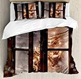 Winter King Size Duvet Cover Set by Ambesonne, Close up Snow on Vintage Wooden Christmas Window Pine Christmas Tree Inside Cabin, Decorative 3 Piece Bedding Set with 2 Pillow Shams,