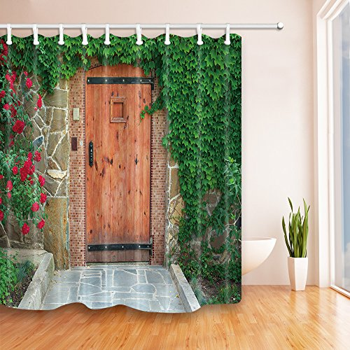 Green Wooden Door (NYMB Wooden Door Stone House Full with Green Plants and Flowers Bath Curtain 69X70 inches Mildew Resistant Polyester Fabric Shower Curtains Fantastic Decorations )