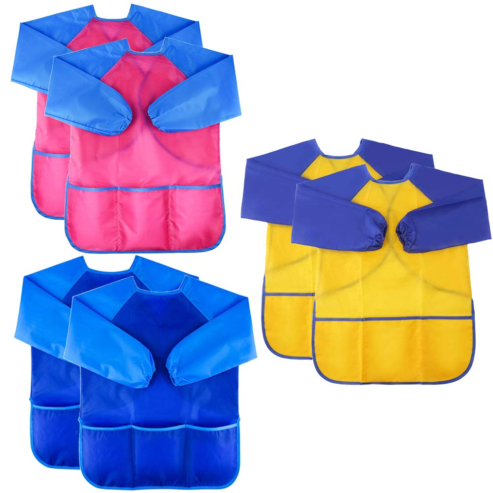 6 Pack Kids Art Smock Colorful Waterproof Children Art Aprons Artist Painting Aprons with Long Sleeve 3 Roomy Pockets for Age 3-8 Years