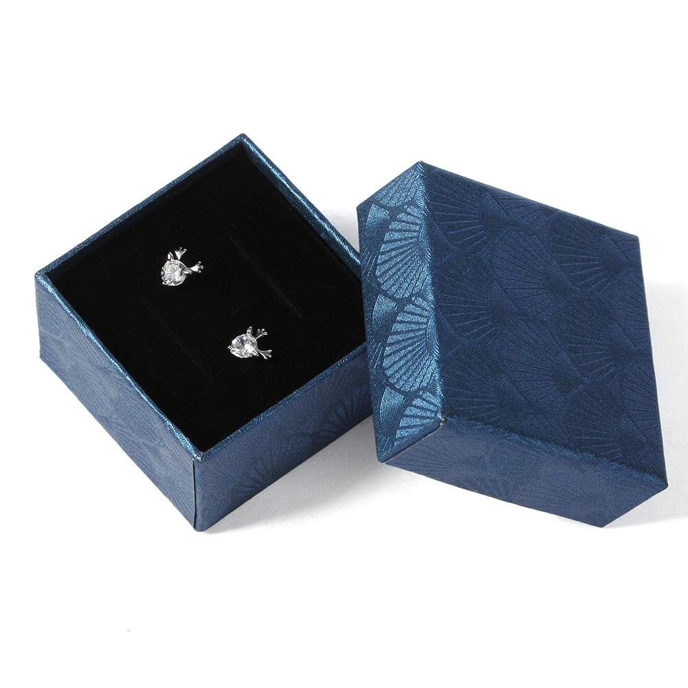 Sterling Silver Deer Antler Elk Stud Earrings White Crystal Zircon Ear Studs Christmas Reindeer Cute Earrings Gift for Women Girls