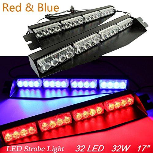 32 LED AUTO EMERGENCY WARNING STROBE SPLIT DECK DASH WINDSHIELD LIGHT BAR (RED & BLUE)