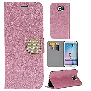 Candywe Fashion Design Wallet Style Leather Case Cover For Samsung Galaxy S6 Edge(Not for Galaxy S6) Pink