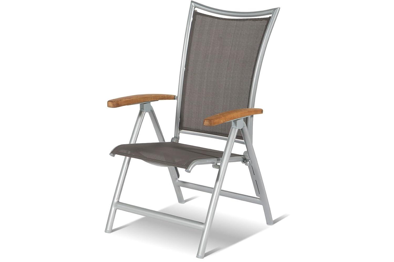 HARTMANN exklusiver Multipositionssessel Phoenix in silber taupe, solides Aluminiumgestell, Sitzfläche aus hochwertigem Textil, 68 x 62 x 110 cm, Rückenlehne verstellbar, Teakholz-Armlehne, wetterfest