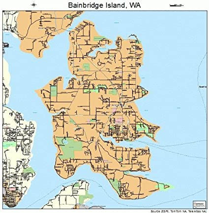 Amazon Com Large Street Road Map Of Bainbridge Island Washington Wa Printed Poster Size Wall Atlas Of Your Home Sports Outdoors