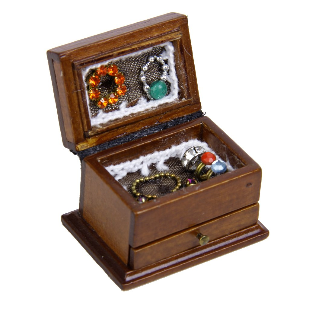 1/12 Dollhouse Miniature Accessory Jewelry Display Storage Box Doll Bedroom Decoration Generic