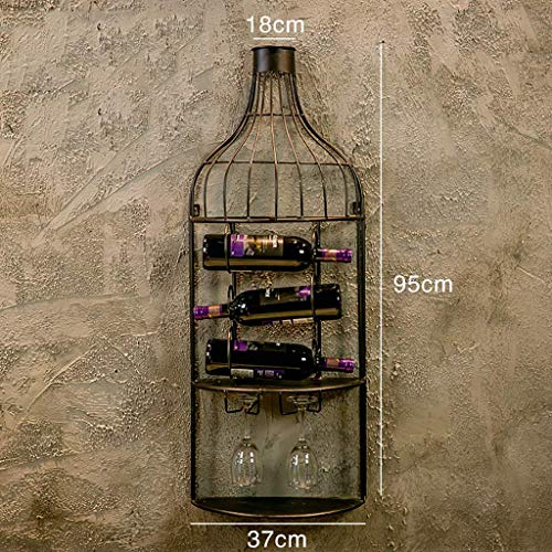 Wine Rack Retro Industrial Wind Wrought Iron Wine Glass Rack Creative Bar Wall Decorations. (Color : Black)
