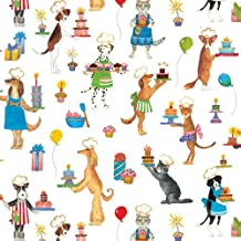 Birthday Cats and Dogs Rolled Gift Wrap