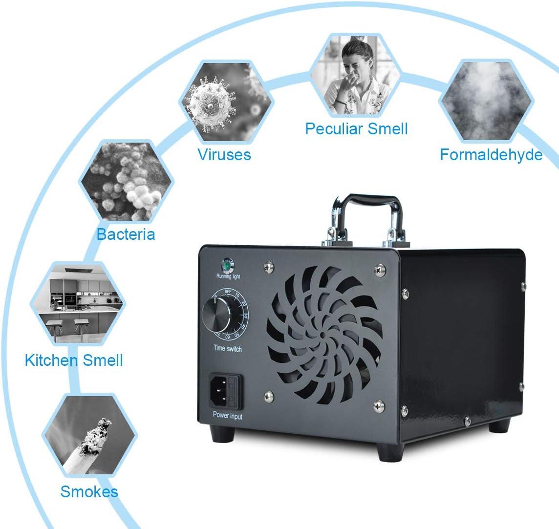 la oficina comercial 10000 mg // h 80W O3 M/áquina Ionizador de aire para el hogar Purificador de aire M/áquina desodorizadora para el hogar la cocina Generador de ozono Podazz Amarillo