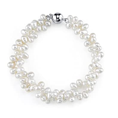 b2fce26195cce5 Amazon.com: THE PEARL SOURCE 4-5mm Rice Shaped Genuine White Freshwater  Cultured Pearl Bracelet for Women: Jewelry