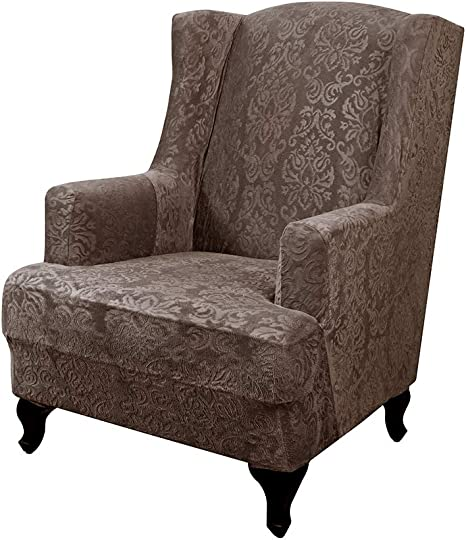 Urbanseasons Elegant Jacquard Wing Chair Slipcovers Wing Back Wingback Armchair Chair With Arms Easy Fitted Sofa Cover Covers For Living Room Amazon Ca Home Kitchen