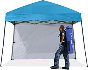 ABCCNAOPY Outdoor Pop Up Canopy Beach Camping Canopy with 1 Sun Wall, Bonus Backpack Bag, Stakes and Ropes,Sky Blue
