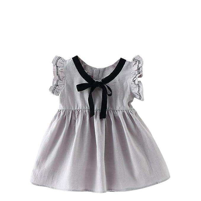 Jimmackey Verano Fiesta Vestir Bebé Niños Chicas Princesa Corto Manga Vestir (1 año, Gris