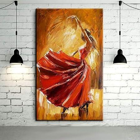 FENGJIAREN Pintura Al Óleo Pintada A Mano Bailarina De Flamenco ...