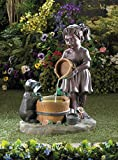 Garden Fountain Relaxation Children Animal Statues Sculptures Outdoor Waterfall Pump Pond Ornament Feng Sui Decorative