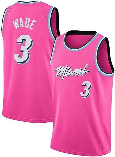 JINHAO Camiseta de Baloncesto para Hombre NBA Miami Heat # 3 Dwyane Wade Camiseta de Baloncesto Swingman de Malla (Rosa, M): Amazon.es: Ropa y accesorios