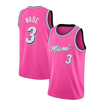 JINHAO Camiseta de Baloncesto para Hombre NBA Miami Heat # 3 Dwyane Wade Camiseta de Baloncesto Swingman de Malla