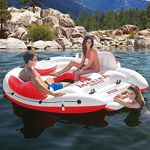 Intex Inflatable Marina Breeze Island Lake Raft with Built-In Cooler | 56296CA -  56296EP