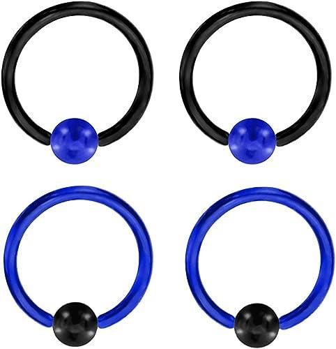 Double Bleu Plumes Cartilage Piercing Captive Anneau Tragus Boucle d/'Oreille Jauge 16 1//2
