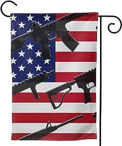BCQJNB Double Sided America Gun Flag Design Welcome Garden Flag for Yard Outdoor Decoration
