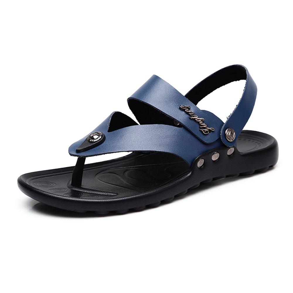 Sunny&Baby Sandalias de Playa para Hombre Suela de Cuero Antideslizante de Cuero Genuino sin Respaldo Ajustable Resistente a la Abrasión 40 EU|Azul