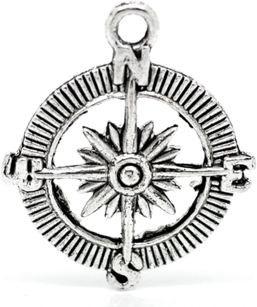4pcs tibetan silver tone compass design charms EF1530
