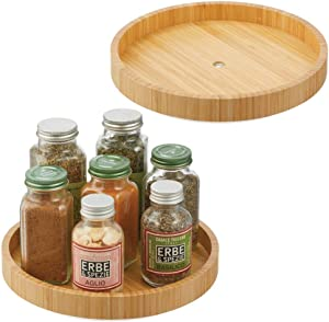 mDesign Bamboo Lazy Susan Turntable Food Storage Container for Cabinets, Pantry, Refrigerator, Countertops, Spinning Organizer for Spice Bottles Jar, Condiments, Baking - 9