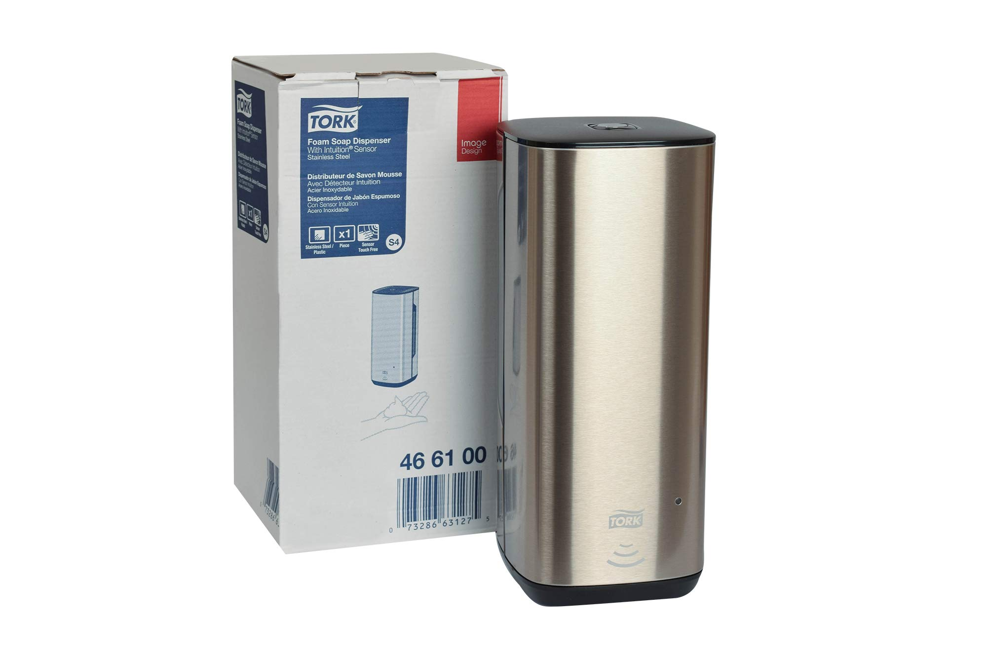 Tork 466100 Image Design Foam Skincare Automatic Dispenser with Intuition Sensor, 10.625 Height x 4.5'' Width x 5.125'' Diameter, Stainless Steel, for use with Tork 401211, 401212, 401213 or 400216