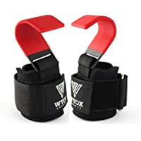 WYOX Sports Heavy Duty Weight Lifting Hooks with Wrist Straps for Pull-ups - Power Lift - Deadlift - Weightlifting Grips…
