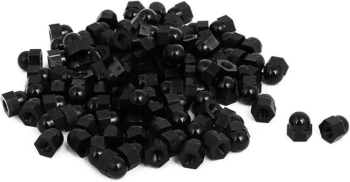 50Pcs Acorn Nuts Nylon Cap Nuts Hex Dome Head Decorative Hexagon Cap Nut M4, Black