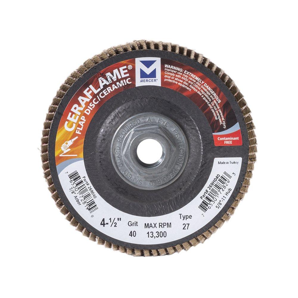 Mercer Industries 269H040 Ceraflame Ceramic Flap Discs, Type 27, 4-1/2'' x 5/8''-11, Grit 40, (10 Pack) by Mercer Industries