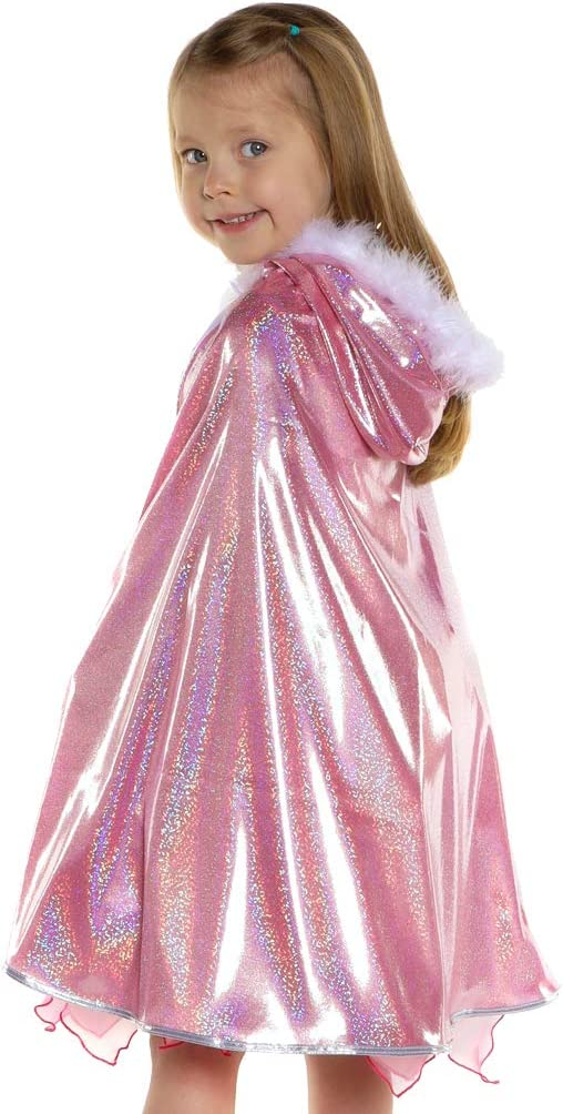 Girls Sequined Sparkly Cape Long Princess Cape Kids Hooded Cloak Birthday Party Silver /& White Crown and Wand Set Blue Pink