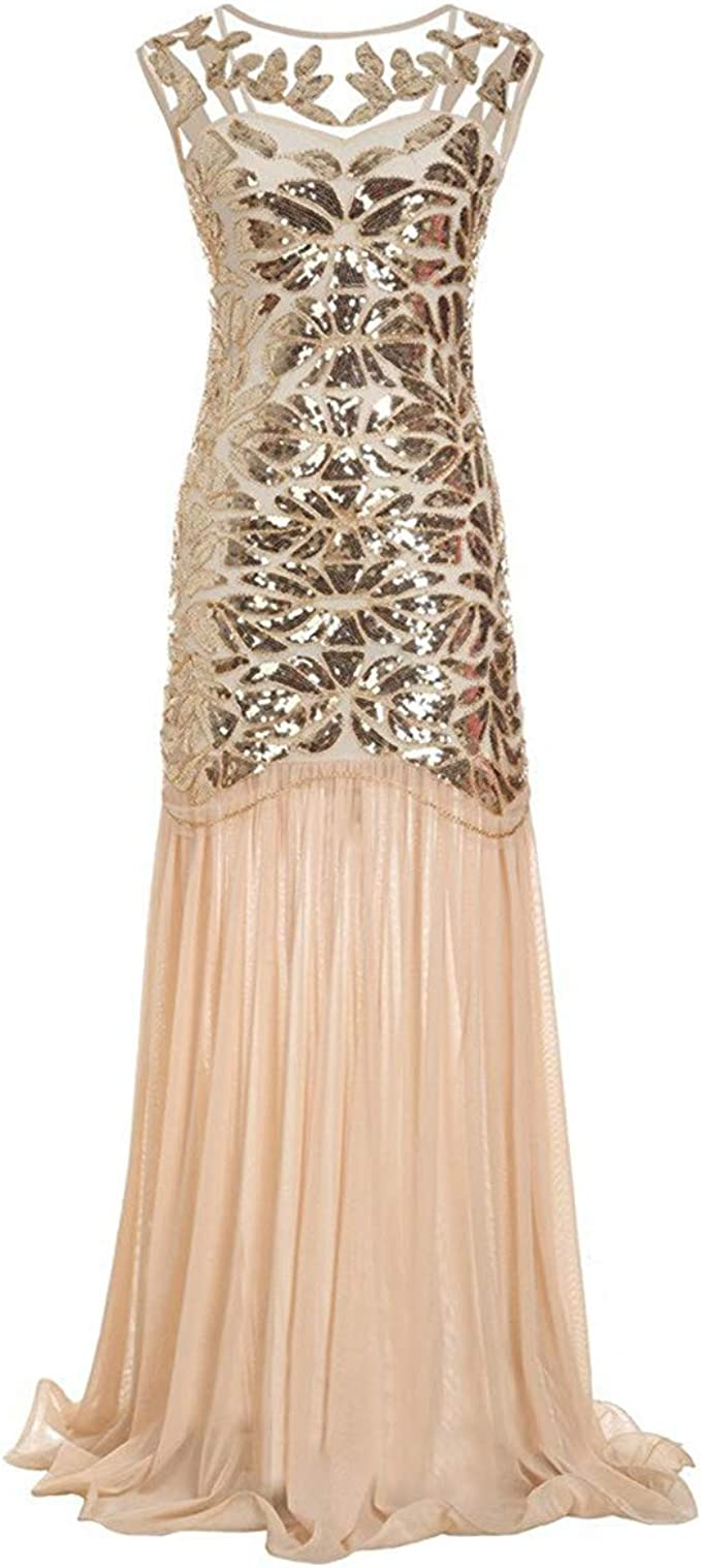 Sequins 1920s Flapper Gatsby Cocktail Dress Party Long Evening Formal Dresses