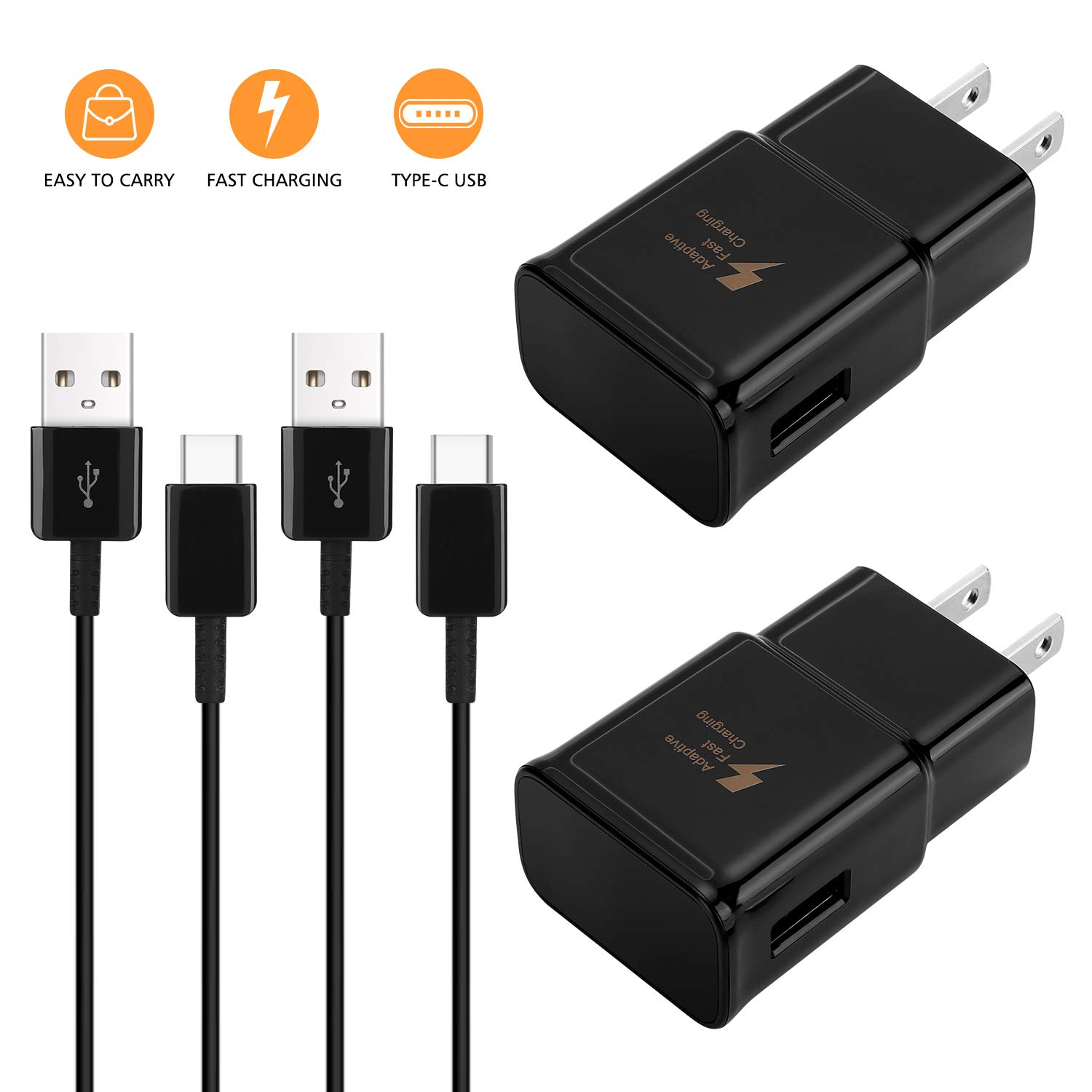 Adaptive Fast Wall Charger Adapter Compatible Samsung Galaxy S10 S9 S8 /Edge/Plus/Active,Note 9,Note 8,c9pro,LG G5 G6 G7 V20 V30 ThinQ Plus EP-TA with USB Type C to A Cable Cord by DiHines
