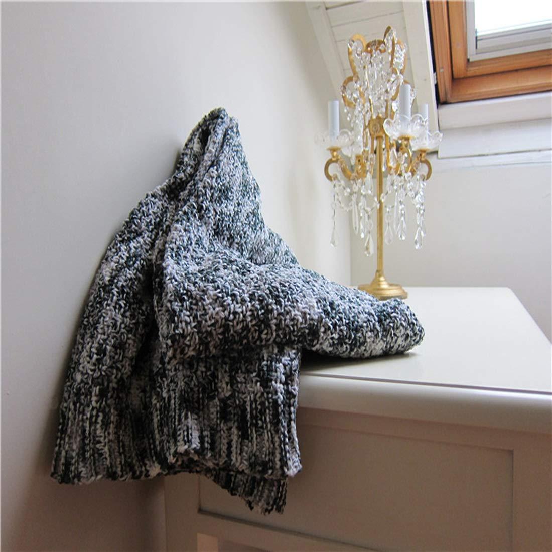 RENSHIHR ニット毛布ダークウォームソフトベッドタオルは、家庭の春と秋に適しています (Color : ブラック) B07MG7977J ブラック